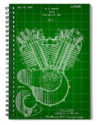 Harley Davidson Engine Patent 1919 - Green Spiral Notebook