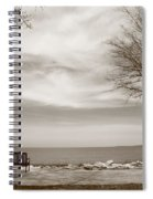 Lake And Park Bench Spiral Notebook