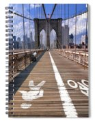 Lanes For Pedestrian And Bicycle Traffic On The Brooklyn Bridge Spiral Notebook