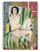 Matisse's Odalisque Seated With Arms Raised In Green Striped Chair Spiral Notebook
