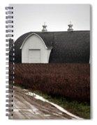 Michigan Barn With Grain Bins Rainy Day Usa Spiral Notebook