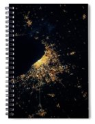 Night Time Satellite Image Of Chicago Spiral Notebook