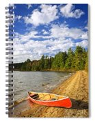 Red Canoe On Lake Shore Spiral Notebook