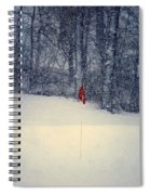 Red Flag On The Snow Covered Golf Course Spiral Notebook