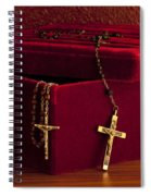 Red Velvet Box With Cross And Rosary Spiral Notebook