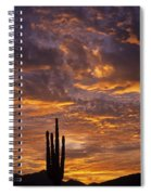 Silhouetted Saguaro Cactus Sunset At Dusk With Dramatic Clouds Spiral Notebook