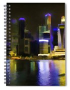 Singapore Skyline As Seen From The Pedestrian Bridge Spiral Notebook