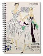 Vintage Fashion Sketches And Fabric Swatches Spiral Notebook