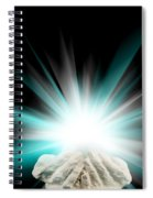 Spiritual Light In Cupped Hands On A Black Background Spiral Notebook