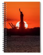 Statue Of Liberty Sunset. Nyc Harbor Spiral Notebook