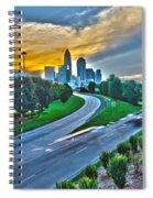 Sun Setting Over Charlotte North Carolina A Major Metropolitan C Spiral Notebook