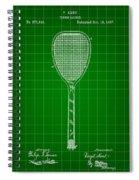 Tennis Racket Patent 1887 - Green Spiral Notebook