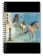 Wild Mustang Horses Outer Banks Lighthouses Nautical Chart Map Art Spiral Notebook