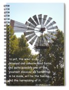 Windmill With Lincoln Quote Spiral Notebook