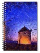 Windmills In Mykonos Island Spiral Notebook