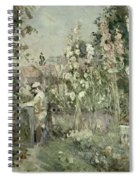 Young Boy In The Hollyhocks Spiral Notebook