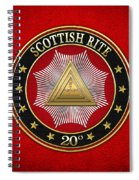 20th Degree - Master Of The Symbolic Lodge Jewel On Red Leather Spiral Notebook
