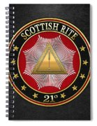 21st Degree -  Noachite Or Prussian Knight Jewel On Black Leather Spiral Notebook