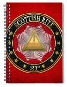 21st Degree - Noachite Or Prussian Knight Jewel On Red Leather Spiral Notebook
