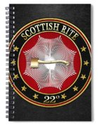 22nd Degree - Knight Of The Royal Axe Jewel On Black Leather Spiral Notebook