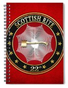 22nd Degree - Knight Of The Royal Axe Jewel On Red Leather Spiral Notebook