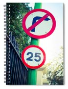 25 Mph Road Sign Spiral Notebook