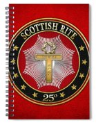 25th Degree - Knight Of The Brazen Serpent Jewel On Red Leather Spiral Notebook