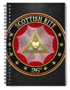 26th Degree - Prince Of Mercy Or Scottish Trinitarian Jewel On Black Leather Spiral Notebook