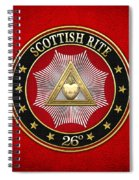 26th Degree - Prince Of Mercy Or Scottish Trinitarian Jewel On Red Leather Spiral Notebook