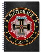 27th Degree - Knight Of The Sun Or Prince Adept Jewel On Black Leather Spiral Notebook