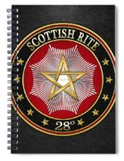 28th Degree - Knight Commander Of The Temple Jewel On Black Leather Spiral Notebook
