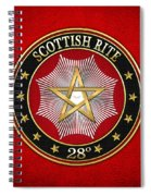 28th Degree - Knight Commander Of The Temple Jewel On Red Leather Spiral Notebook