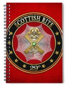 29th Degree - Scottish Knight Of Saint Andrew Jewel On Red Leather Spiral Notebook