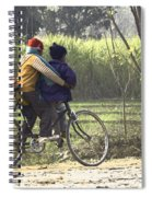 3 Young Children On A Cycle At The Side Of The Road Spiral Notebook