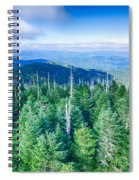 A Wide View Of The Great Smoky Mountains From The Top Of Clingma Spiral Notebook