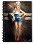 American Fashion Model In Military Pin-up Style Spiral Notebook