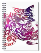 3 Cats Purple Spiral Notebook