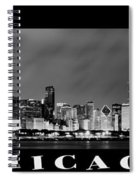 Chicago Skyline At Night In Black And White Spiral Notebook