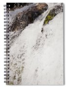 Curtain Of White Water Falling From Rocky Cliff Spiral Notebook