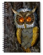 Faux Owl With Golden Eyes Spiral Notebook