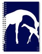 Giraffe In Navy And White Spiral Notebook
