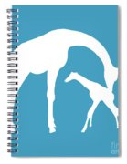 Giraffe In White And Turquoise Spiral Notebook