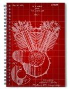 Harley Davidson Engine Patent 1919 - Red Spiral Notebook