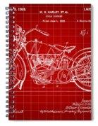 Harley Davidson Motorcycle Patent 1925 - Red Spiral Notebook