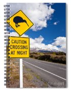 Kiwi Crossing Road Sign And Volcano Ruapehu Nz Spiral Notebook