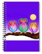 3 Little Owls In The Moonlight Spiral Notebook