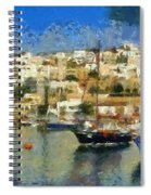 Panoramic Painting Of Mikrolimano Port Spiral Notebook
