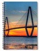 Ravenel Bridge Twilight Twinkle Spiral Notebook