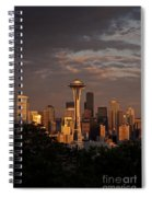 Seattle Skyline With Space Needle And Stormy Weather Spiral Notebook
