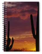 Silhouetted Saguaro Cactus Sunset At Dusk Arizona State Usa Spiral Notebook